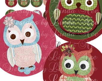 Instant Download - CHRISTMAS WINTER OWLS (2.5 inch Round) Images Digital Collage Sheet  Sale printable sticker magnet button holiday