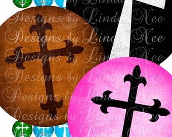 Instant Download - CHRISTian Cross (1 Inch round) Digital Collage Sheet  Sale printable stickers magnet button Jesus crosses
