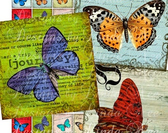 Instant Download - Butterflies Galore (.75 x .83 scrabble) Images Digital Collage Sheet  SALE survivor truth believe printable stickers card