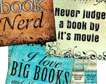 NEW- BOOK Nerd (.75 x .83 scrabble Inch) Images  Sale - Digital Collage Sheet scrapbooking printable stickers card ephemera