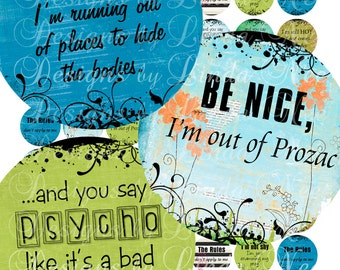 NEW- Say it Like it is 2 (1 inch round) Sassy Quotes Images  Sale - Digital Collage Sheet printable stickers magnet button