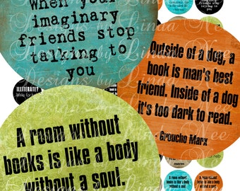 NEW- BOOK Writing Quotes (1 Inch rounds) Images  Sale - Digital Collage Sheet scrapbooking printable stickers card ephemera
