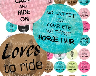 Instant Download - Keep Calm and Ride On (1 Inch Round) Images  SALE -  Digital Collage Sheet printable stickers magnet button sports star