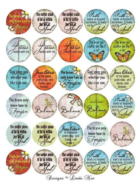 Christian Thoughts 1 Inch Round Digital Collage Sheet Buy 2
