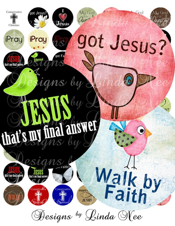 Instant Download - CHRISTian Quotes and Sayings- (2.5 Inch round) Digital Collage Sheet  printable stickers card ephemera gift tag cross