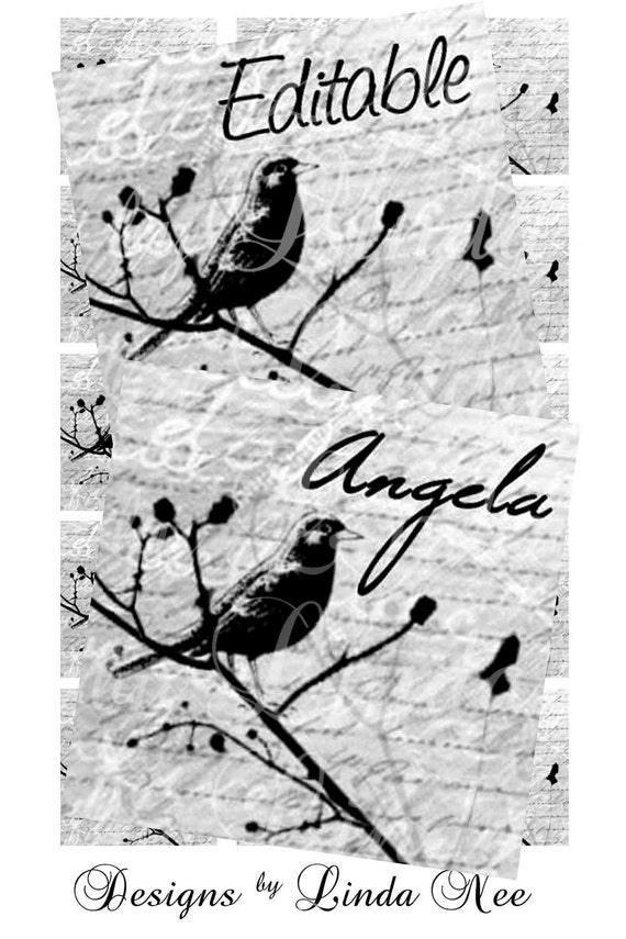 EDITABLE Bird on Branch Black and White (1 x 1 inch) JPG and PDF Customizable Personalized Images Digital Collage Sheet sticker magnet