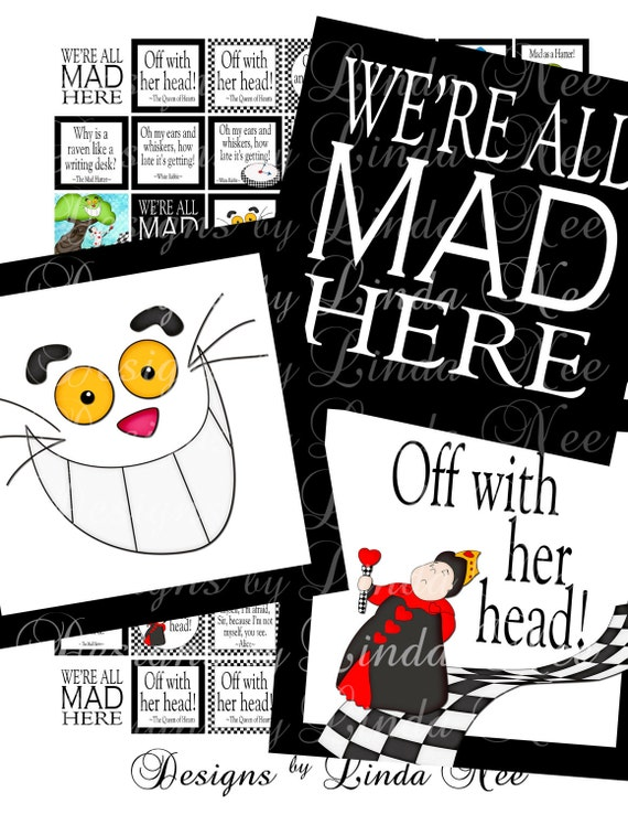Instant Download - Whimsical Alice in Wonderland and the Mad Hatter and White Rabbit (1.375 x 1.375 inch) Digital Collage Sheet scrapbooking