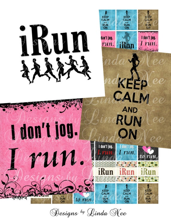 I Love to Run (.75 x .83 scrabble Inch) Images  SALE -  Digital Collage Sheet printable stickers magnet button sports star