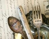 Vintage Silverware Garden Marker - Basil, Sage, Oregano - Fork, Knife, Spoon Set (E0268)