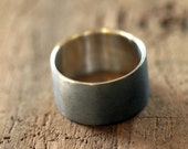 Mens sterling silver wedding ring large dark band (E0215)