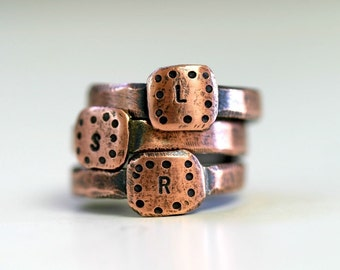 Personalized Custom Initial Band Ring Copper (E0231)