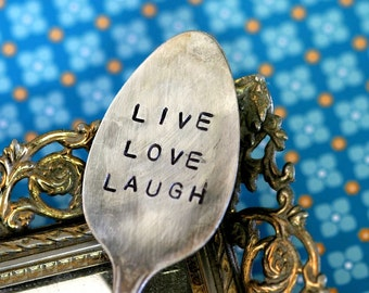 Live Love Laugh' Stamped Spoon Garden Marker Vintage Silverware (E0213)