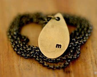 Teardrop Brass Necklace with custom initial (E0262)