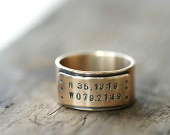 14k Gold Latitude Longitude Personalized Wedding Ring (E0309)