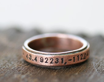 Latitude Longitude Copper Band Ring (E0207)
