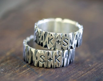 Tree Bark Sterling Silver Personalized Band Ring (E0265)
