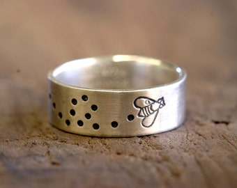 Custom stamped sterling silver band ring E0190