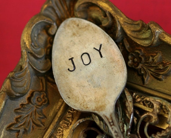 Joy Spoon Marker Vintage Stamped Silverware (E0202)