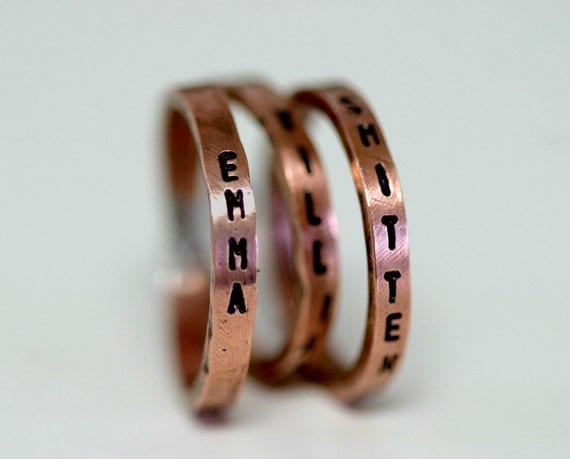 Child's Name Copper Rings Personalized - Set of 3 (E0177)