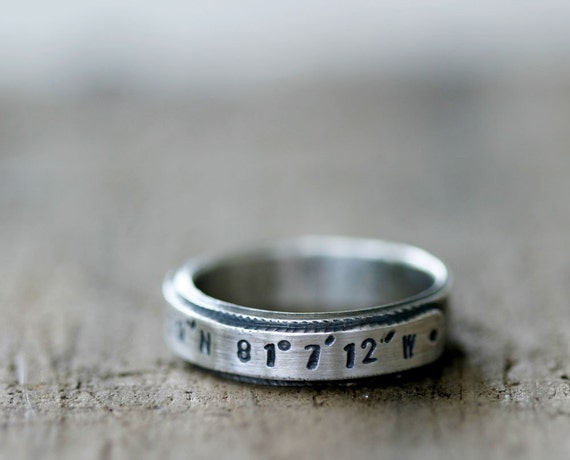 Latitude Longitude custom stamped sterling silver ring (E0208)