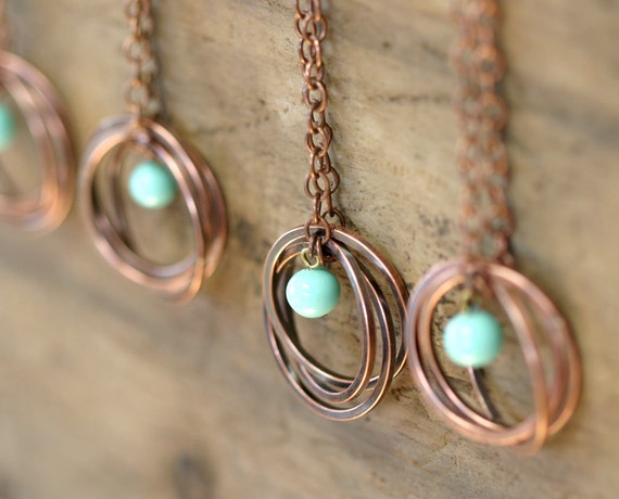 Copper Ring Necklace with Vintage Baby Blue Bead (E0182)