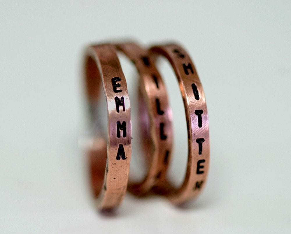 child 39 s name copper rings personalized set of 3 e0177. Black Bedroom Furniture Sets. Home Design Ideas