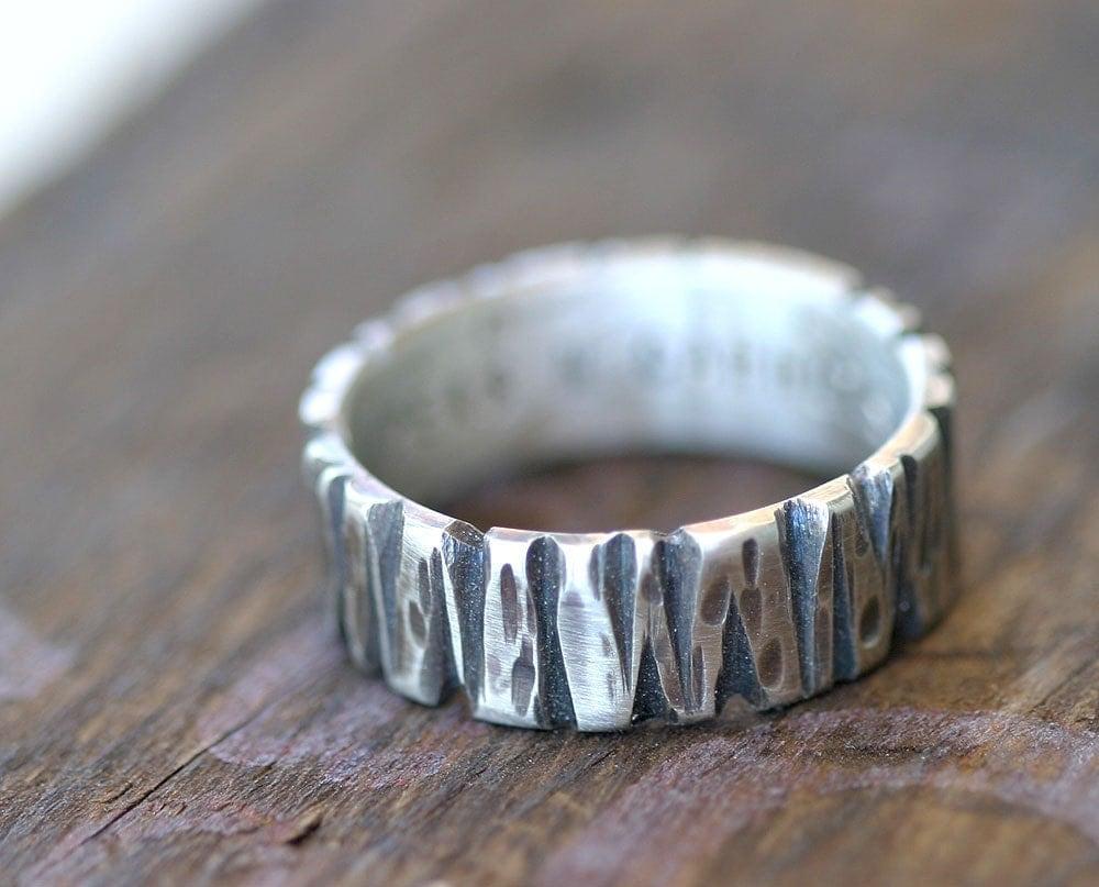 Men S Tree Bark Wedding Ring 14k Gold E0301