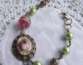 Cameo..pearl..glass bead..boho vintage gold bracelet