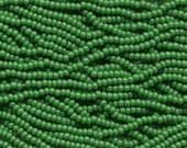 Czech Seed Beads 11/0 Opaque Green 31039 (6 strand hank) Glass Seed Beads, Precoisa Beads, Round Seed Beads, Rocaille Bead, Glass Bead