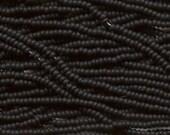 Czech Seed Beads 11/0 Opaque Matte Black 31058 (6 strand hank) Glass