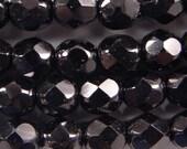 Czech Firepolish Beads 6mm Jet Black 17286 Round Beads, Faceted Beads, Fire Polish Beads, Jablonex Glass Bead, Small Beads, 6mm Czech Bead