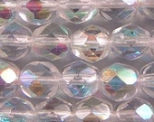 Czech Firepolish Beads 6mm Clear AB 17291   Round Beads, Faceted Beads, Fire Polish Beads, Jablonex Glass Bead, Small Beads, 6mm Czech Bead