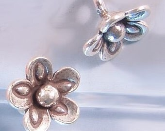 Karen Hill Tribe Silver Flower Drops T439 (3) Charms