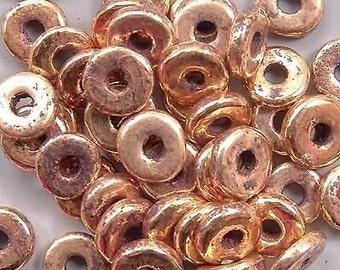 Greek Ceramic 8mm Disk Beads Antiqued Gold-plated 16089 Large Hole Disc Beads, Gold Rondelle Beads, Big Hole Beads