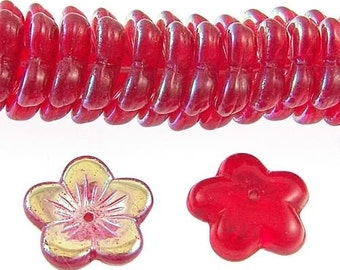 Czech Flower Beads 16mm Siam Ruby Red AB 17891 Transparent Red AB Flower Beads, Jablonex Glass Beads, Large Glass beads, Jewelry Beads