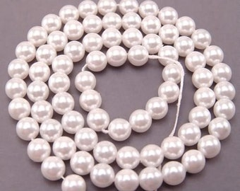 Czech Glass Pearl Beads 8mm White 17152 , White Pearls, 8mm Round Beads, 8mm Pearl Beads, Preciosa Beads, Czech Pearl Beads, Czech Beads