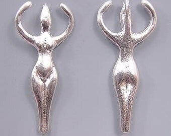 Greek Goddess Pendants Silver Plated 33214 (2) Large Hole Pendant, Silver Pendant, Silver Goddess Pendant, Open Arm Goddess Necklace Pendant