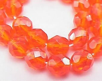 Czech Firepolish Beads 8mm Hyacinth Orange 17114 , Transparent Orange Beads, 8mm Faceted Glass Beads, Hyacinth Jablonex Beads, Precoisa