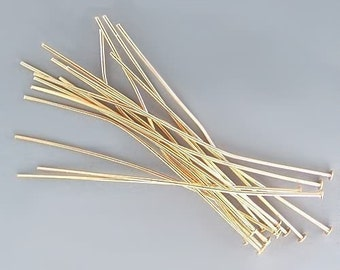 4 inch 21ga Gold-Plated Headpins 42950 (144) 21 gauge Gold Head Pins, Jewelry Findings, Head Pin Wire, Thick Head Pins, Long Head Pins