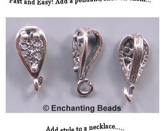 Filigree Bail Sterling Silver 42635 (1) Open Loop Bails, Sterling Silver Bails, Sterling Bails, Small Bails, Teardrop Bails Necklace Bail