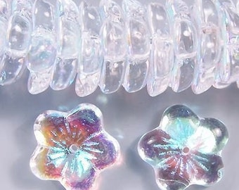 Czech Flower Beads 16mm Clear AB 17469 Transparent Clear Flower Beads, Jablonex Glass Beads, Large Glass beads, Jewelry Beads