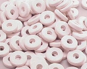 Greek Ceramic 8mm Disk Beads 2.6mm Hole White 16006 Disc Beads, Narrow Beads, Spacer Beads, Large Hole Beads, Big Hole Beads, Ceramic Beads