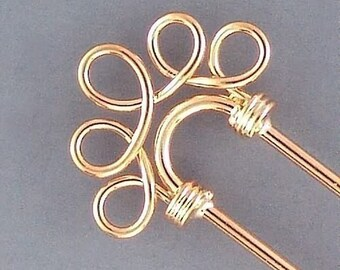 Beadable Hair Pins Five Hole Gold-Plated 42959 (6) Gold Hairpins, Gold Plated Hairpins, Beadable Hairpins, Hair Pins with Loops