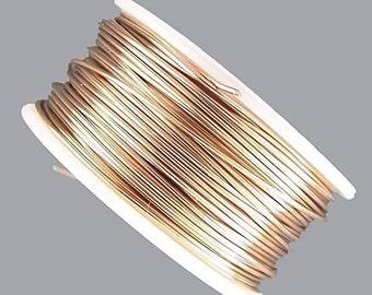 Artistic Wire 28 Gauge Tarnish Resistant Brass 41376 Dispenser Round Wire, Brass Wire, Half Hard Temper Wire, Jewelry Wire, Craft Wire