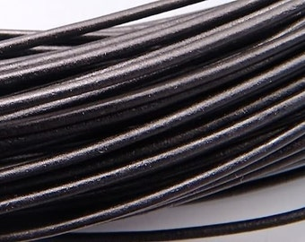 1.5mm Black Greek Leather Round Cord 42470 (5 meters), Jewelry Cording, Necklace Cord, Bracelet Cord, 1.5mm Cording, 1.5mm Leather Cording