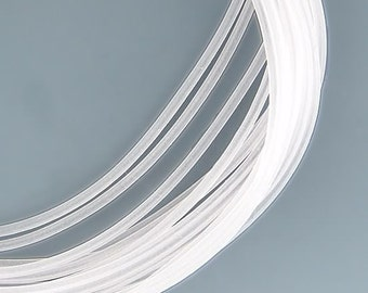 2mm Hollow Rubber Tubing Clear Frost 41016 (5yds) Round