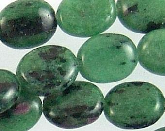 Ruby Zoisite 10mm Flat Oval Gemstone Beads 71721