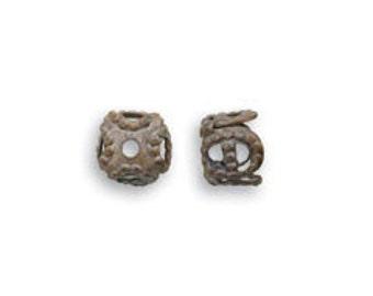 Square FIligree Bead Caps Vintaj Natural Brass 61223 (10) Vintaj Bead Caps, Hobnail Bead Caps, Small Beads Caps, Square Bead Caps