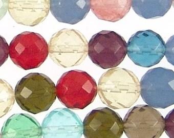 MultiColor Quartz 8mm Faceted Round Beads 71836