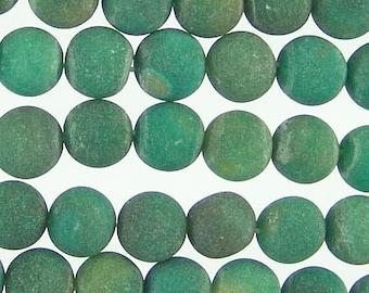 Matta Fire Agate Green 10mm Round Beads 71870